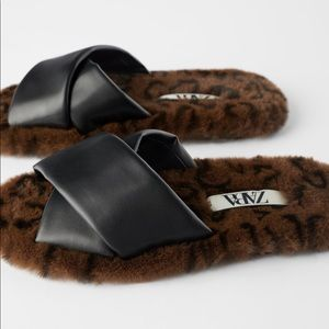 Zara | Faux Fur Animal Print Slide Sandals